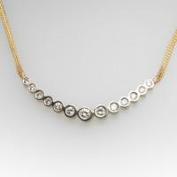 BEZEL SET GRADUATED 13 ROUND BRILLIANT DIAMOND NECKLACE14K GOLD