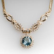 VINTAGE AQUAMARINE & DIAMOND NECKLACE 14K GOLD
