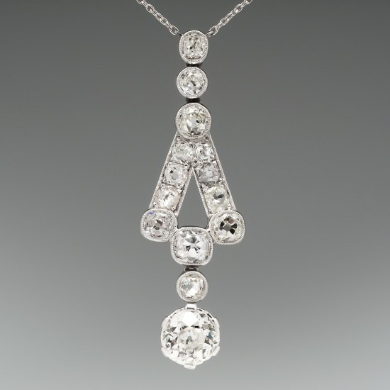 ANTIQUE JEWELRY 1920'S 1.6 CARAT DIAMOND NECKLACE 18K WHITE GOLD
