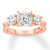 Diamond 3-Stone Ring 2-7/8 ct tw Round-cut 14K Rose Gold