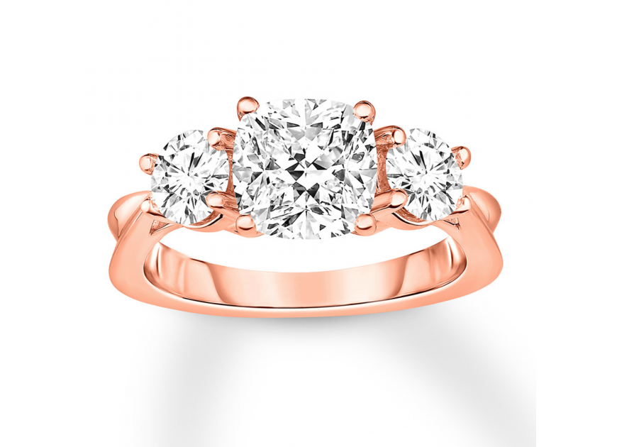 Diamond 3-Stone Ring 2-7/8 ct tw Round-cut 14K Rose Gold