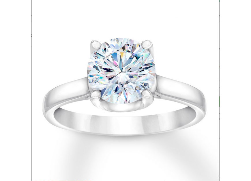 Certified Diamond Solitaire Ring 2 carats Round 14K White Gold