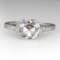 BEAUTIFUL ROSE CUT DIAMOND ENGAGEMENT RING ORNATE PLATINUM