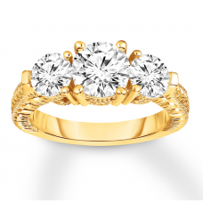 Diamond 3-Stone Ring 2-7/8 ct tw Round-cut 14K Yellow Gold