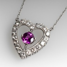 HEART DIAMOND & PINK SAPPHIRE NECKLACE 14K WHITE GOLD