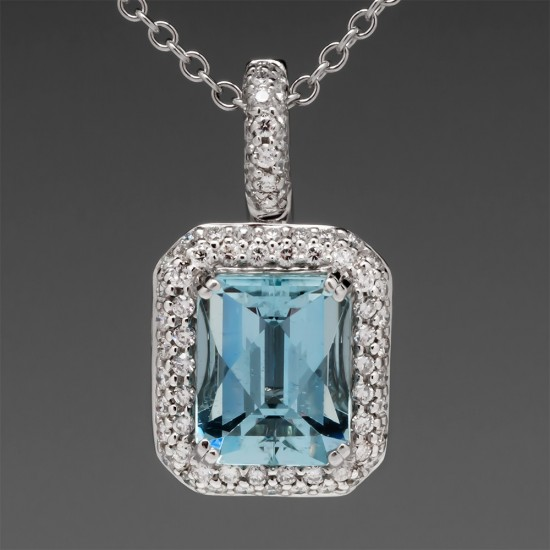 AQUAMARINE NECKLACE WITH DIAMOND ENHANCER PENDANT NECKLACE 18K