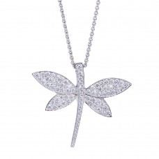 Dragonfly pendant with diamonds