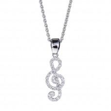 Treble clef pendant with diamonds