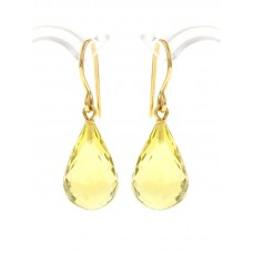 Lemon quartz earrings, briolette-cut and diamonds