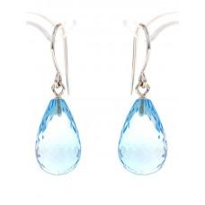 Blue topaz earrings, briolette-cut