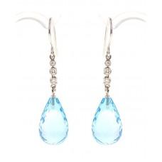 Blue topaz earrings, briolette-cut and diamonds