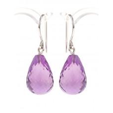 Amethyst earrings, briolette-cut