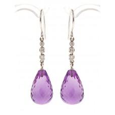 Amethyst earrings, briolette-cut and diamonds