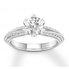 Diamond Engagement Ring 1-3/8 ct tw Round-cut 14K White Gold