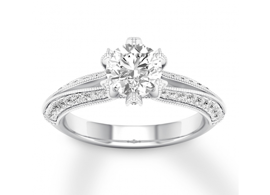 Diamond Engagement Ring 1-3/8 ct tw Round-cut 14K White Gold
