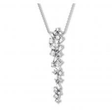 Diamond Necklace 1/2 ct tw Round/Baguette 14K White Gold