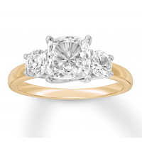 Diamond 3-Stone Ring 2-3/4 ct tw Cushion-cut 14K Two-Tone Gold