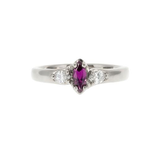 A Purple Marquise Yogo Sapphire Ring