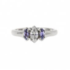 A Marquise Yogo Sapphire and Diamond Ring