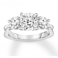 Diamond 3-Stone Ring 2-7/8 ct tw Round-cut 14K White Gold