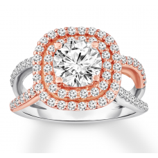 Diamond Engagement Ring 1-5/8 ct tw Round-cut 14K Two-Tone Gold